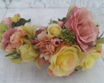 Rose and Larkspur hairflower/fascinator headband flowercrown. Natural coloured silk flowers, Berries and foliage.