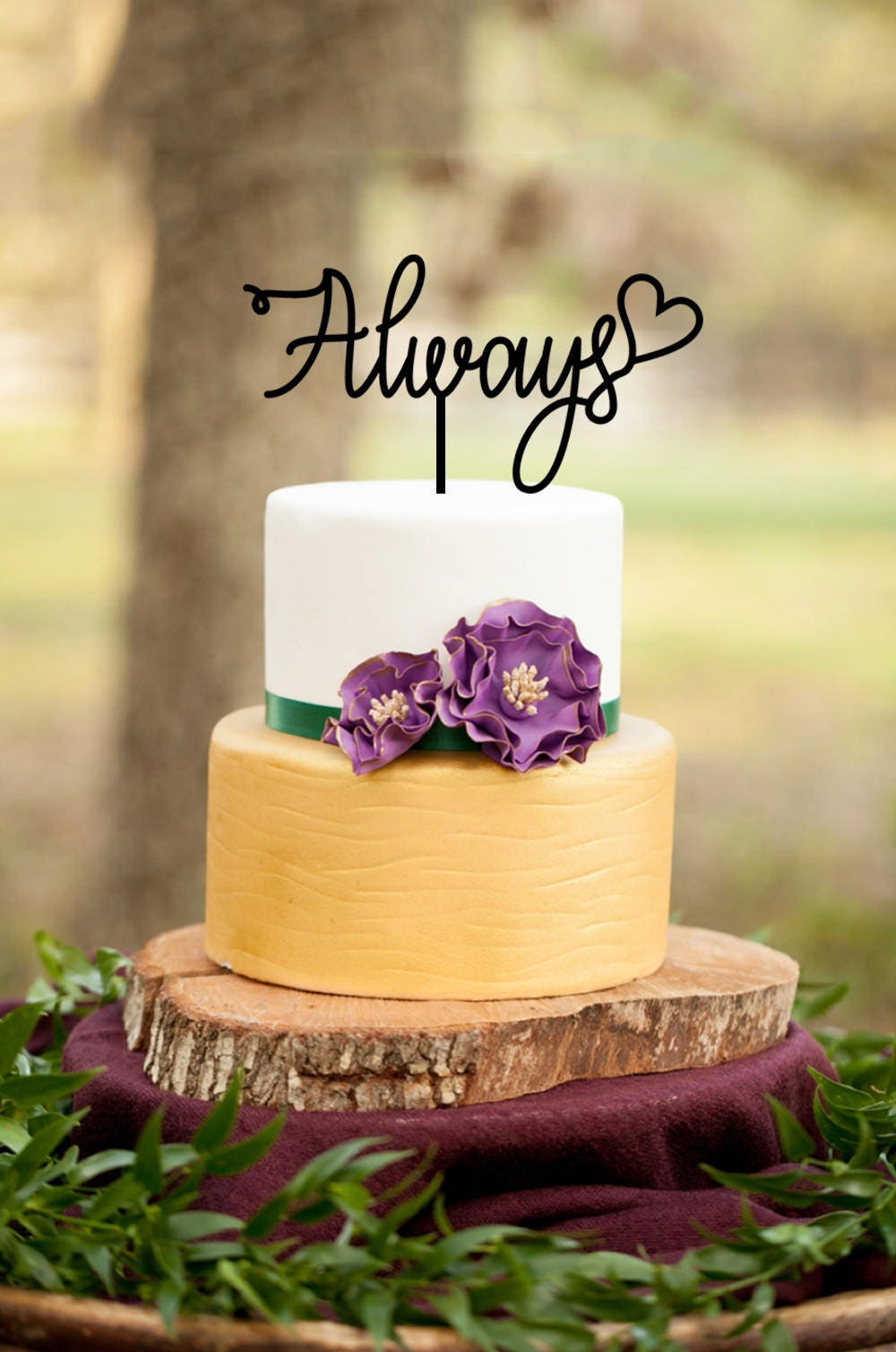 Always Cake Topper, Monogram Wedding Anniversary Cake Topper, Heart ...
