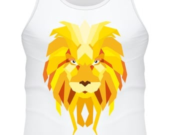 white tank top- Lion low poly color - F-WD-017