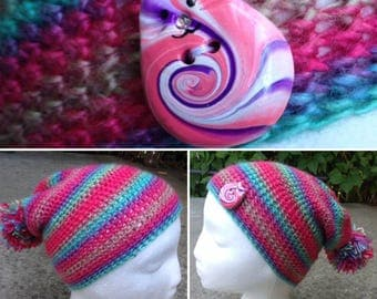 Kids Rainbow Slouchy Hat with Pippincat Button