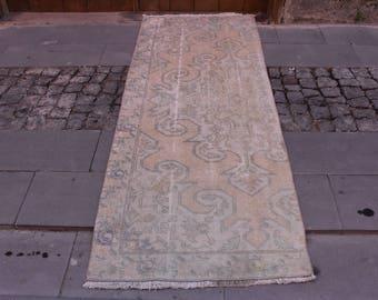 Decorative Bohemian Floor Rug Pastel Color Oushak Rug 2.5x5.8 feet Free Shipping Turkey Rug Bohemian Rug Area Rug Boho Rug Rare Rug Code90