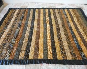 Black and Brown Batik Lap Quilt, Sofa throw blanket in dark masculine tropical florals
