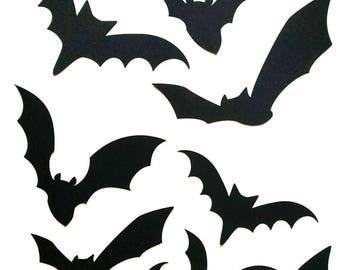 paper bat cutouts 60 piece kit halloween silhouette wall decor cardstock cutouts kit
