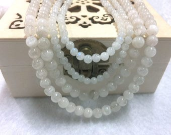 Moonstone_Semiprecious moonlight stone_round beads_at choose 4mm/104 beads_6mm/64 beads