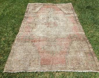 Pastel color rug,oushak rug, new fashion rug,entry rug,faded muted rug, oushak rug ,vintage turkish rug,oushak vintage rug. 121x200/6'5x3'9