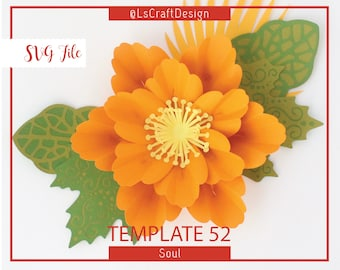 SVG Paper flower, Kate Spade Flower, Giant Paper Flower Templates, Craft, Cricut and Silhouette Ready, Base Including