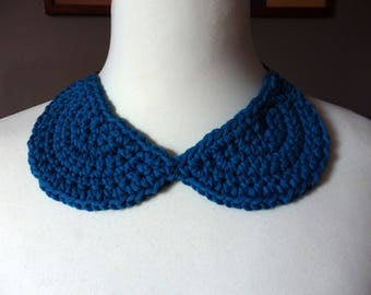 Peter Pan Collar Crocheted, blue thick cotton yarn