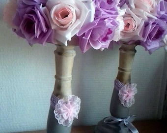 2 DECORATIONS of TABLE wedding decor - artificial flowers