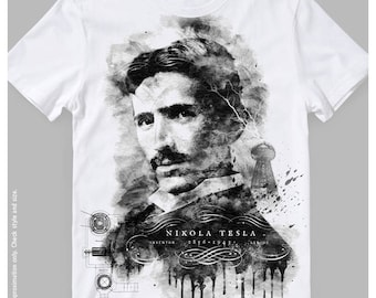 Nikola Tesla All-Over Printed T-Shirt | Inventor Genius Gift Tee