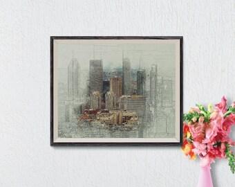 Minimalist Cityscape Print, City Art, Skyline Art Print, Modern Sketch Art, Cityscape Art, Printable Wall Art, Instant Download