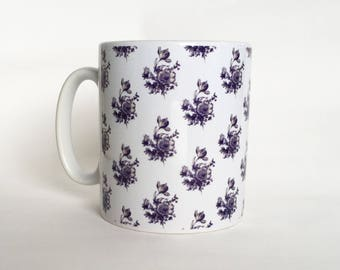 Blue and White Floral Cup