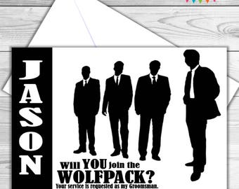 Wolfpack best man, groomsman, ring bearer proposal card