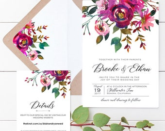 Bohemian Wedding Invite Set, Floral Wedding Invitations, Watercolor, Printable Wedding Invitation set, Calligraphy floral, Alissa