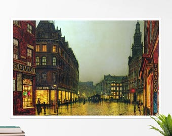 "John Grimshaw, ""Boar Lane, Leeds"". Art poster, art print, rolled canvas, art canvas, wall art, wall decor"