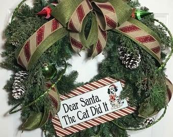Christmas pet wreath, Holiday wreath, Christmas decor, christmas wreath, holiday wall wreath, xmas mantle wreath, holiday pet wreath, gift