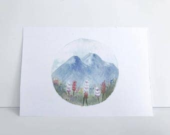 4 1/2'' x 6 1/2'' Mountain Watercolor Painting Print, Watercolor Art, Watercolor Decor