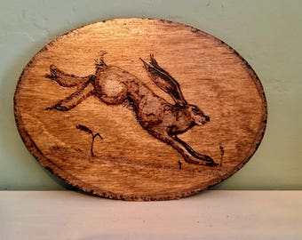 Folk Art. Lovely and Unusual Rustic Pyrography Carved Birch Wood Hare Plaque.