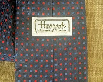 Harrods Tie/Vintage Silk Tie/Navy Bue Necktie/Blue and Red Tie/Classic Business Tie/Gift for Him Under 30.00/No.050