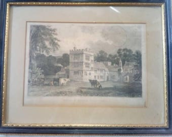 Antique Engraving cotele house Cornwall - Rolph after All - Vintage Farm Manor Framed Antique Print