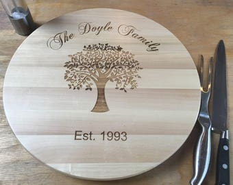 Engraved Wooden Lazy Susan - Family Tree Wedding / Anniversary / Christmas Gift