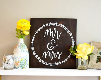 Mr and Mrs Sign   Mr and Mrs Wedding Sign   Bride and Groom Sign   Mr and Mrs Wood Sign   Mr and Mrs Table Sign   12x12   Wedding Decor