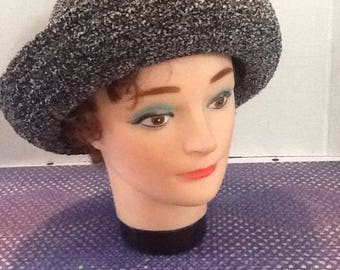 Vintage Betmar New York Tweed looking #627 Chenille bucket brim hat, Cloche style. acrylic blend, non crushable, acrylic blend, like new