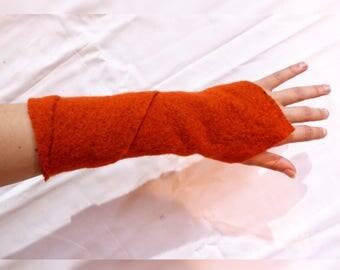 Arm warmers - orange wool LARP - One-Size