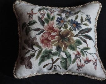 Lovely Handmade Needlepoint Pillow in Muted Shades Of Blue, Pink and beige
