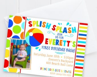 Pool Party Birthday Invitation With Photo - Beach Ball Birthday - Boy First Birthday Invite - Digital/Printable OR Printed & Shipped!