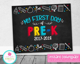 First Day of Pre-K Chalkboard Sign - First Day of School Sign - Blue, Red, Yellow, Turquoise - 8x10 Instant Download Printable Sign