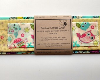 Beeswax Food Wraps 'Pretty Pack' - eco-friendly alternative to plastic cling wrap
