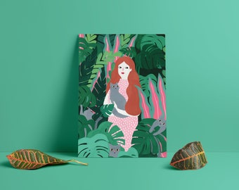 Jungle and cats art print on glossy 300g paper