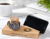 Personalised Oak Bedside Watch And Phone Stand / Tech Gifts / Gifts for Father's Day / Cellphone Stand / Watch, Ring and Phone Holder