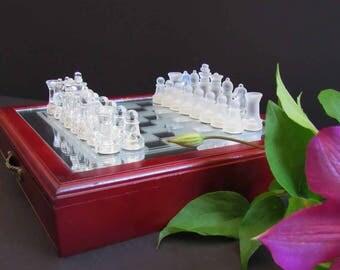 Vintage chess set, mini chess set, glass chess set