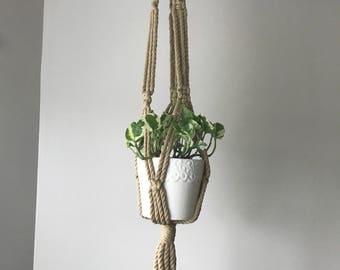 Vintage Macrame Plant Hanger-Wood Beads-Woven Rope Plant Holder