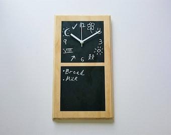 Chalkboard Clock  |  Blackboard Clock  |  Contemporary  |  Modern  |  Wall mounted  | Clock and Noteboard