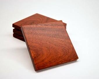 Wood Coasters - Bloodwood Coaster Set - Solid Bloodwood Hardwood Coasters -Christmas Gift - Housewarming Gift