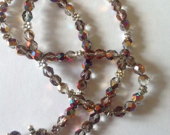 Rainbow crystal glass necklace crystal becklace beaded necklace handmade necklace statement necklace