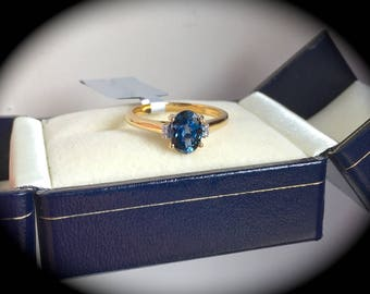 "1.18ct Natural Blue Spinel & Diamond Ring 14ct Y Gold Size L (US 6) ""CERTIFIED SI"""