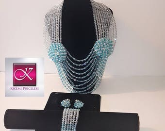Turquoise Blue Crystal Bead  Necklace Sets