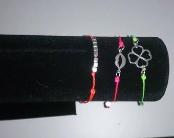 Wire Bracelet pink neon Sterling Silver 925
