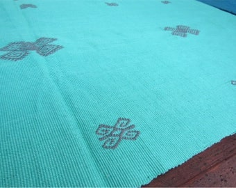blue mexican table runner / ethnic textile / embroidery