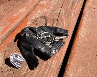 Lot of two: vintage leather jacket keychain late 80s early 90s, new enamel jacket pin