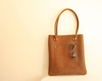 leather tote - leather tote bag - leather bag - rustic leather bag - minimalist bag - tote bag - leather hobo bag - leather handbag