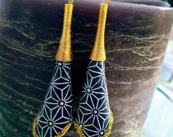 Origami fabric and gold earrings blue geometric pattern