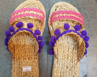 Beach Sandals, Pom Pom Sandals, Straw Sandals, Beach Shoes