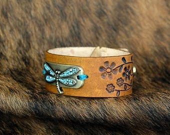 Handmade Leather Bracelet / Cuff w/ Dragonfly & Hand stamped flowers