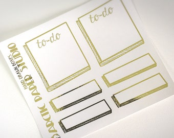 Hand Drawn Boxes - FOILED Sampler Event Icons Planner Stickers