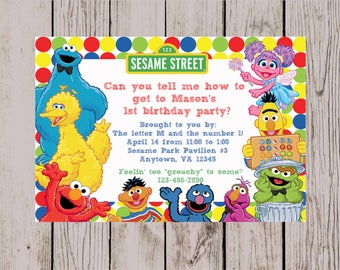 Sesame Street Invitation, Sesame Street Birthday Party invite, Sesame Street Digital Party Invite