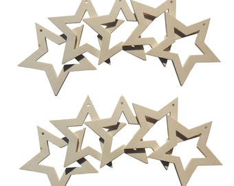 Christmas stars DIY wood 10 Pcs tunnel
